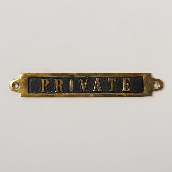 BRASS SIGN  PRIVATE