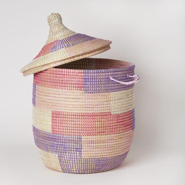 セネガルふた付きカゴ ブロック柄 ピンク