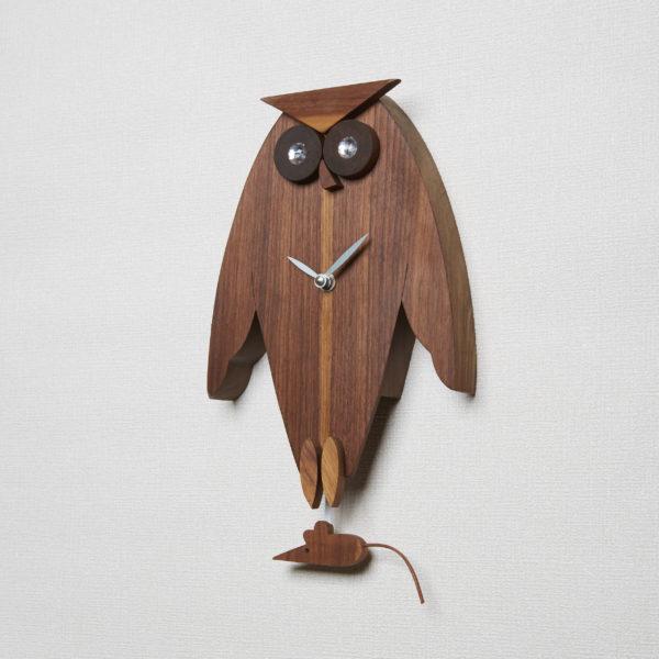 "Owl Pendulum Clock ""Walnut"""