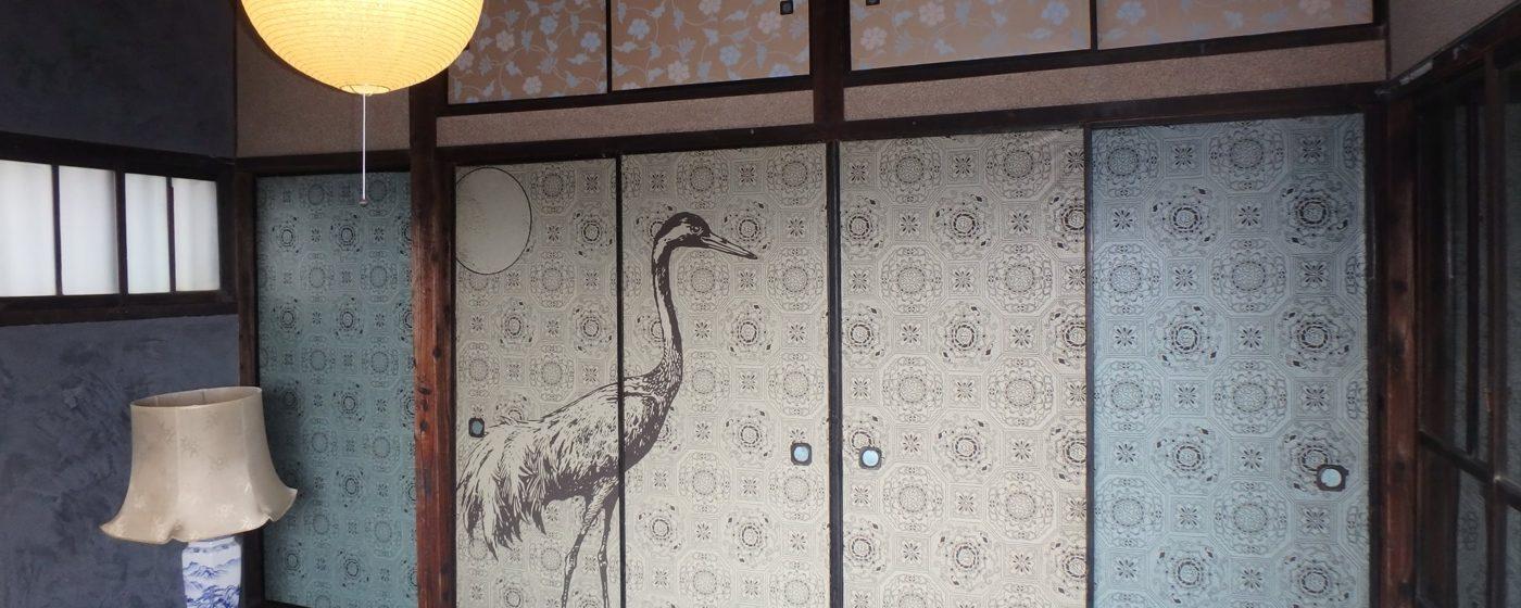 【新商品】オリジナル襖紙「月に鶴」背面柄が発売します