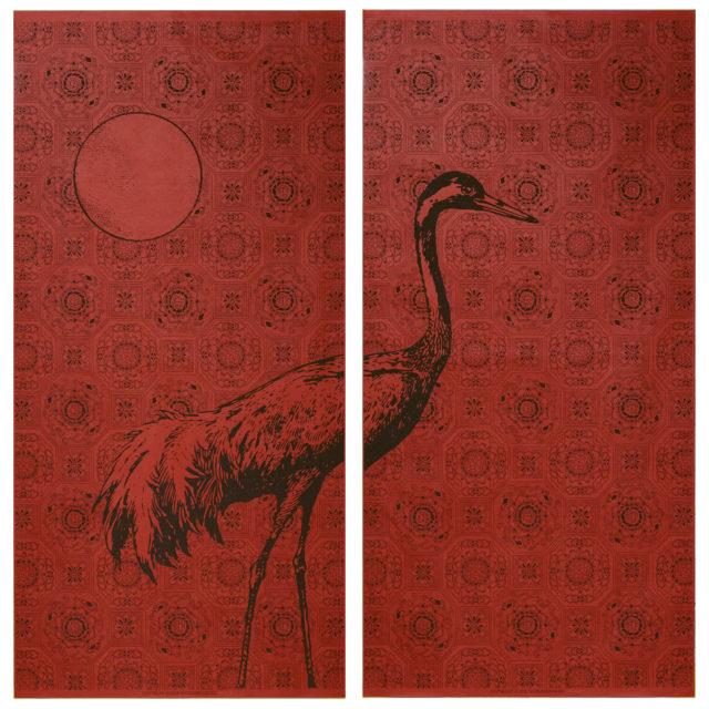 新作襖紙のご紹介。MATERIAL collaboration「月に鶴」