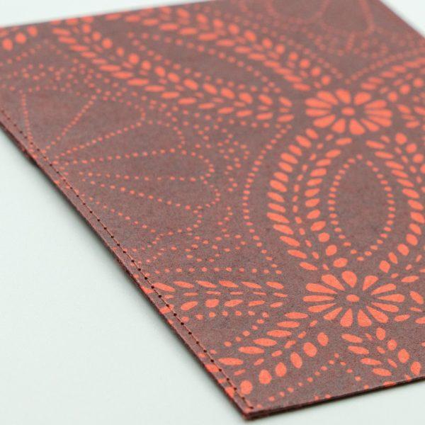 ふすま紙カードケース 菊七宝(朱うるみ)×月に鶴(青鼠)