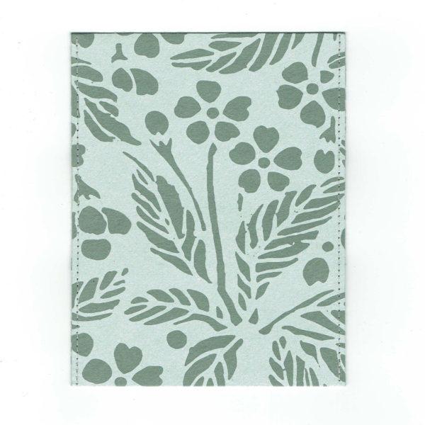 ふすま紙カードケース 葉桜(利休鼠)×月に鶴(朱)