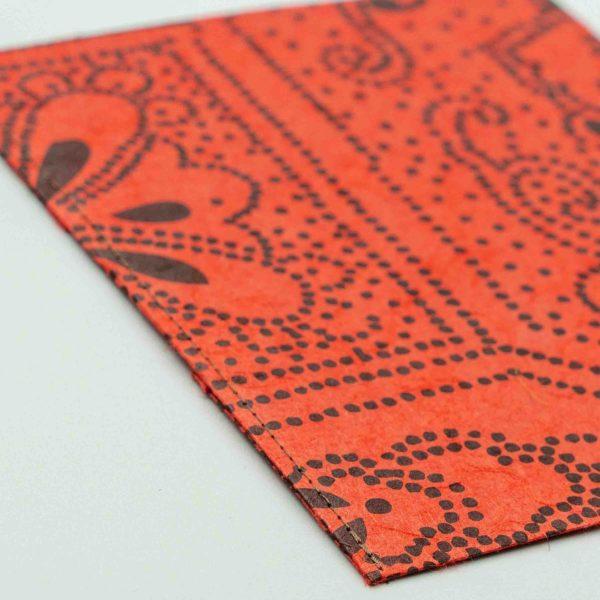 ふすま紙カードケース 月に鶴(朱)×楓鹿紋(花色)