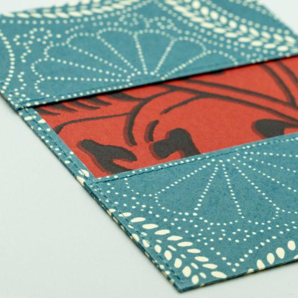 ふすま紙カードケース 菊七宝(生成)×獅子地紋(朱)